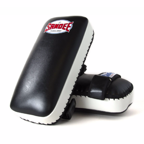 Sandee Straight Thai Kick Pads - Black/White